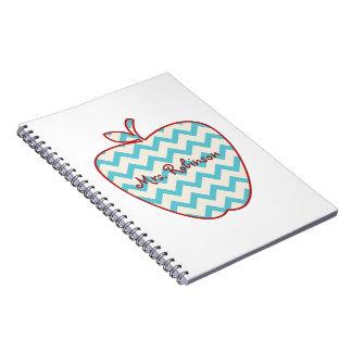 Aqua Chevron Apple Teacher Spiral Note Book