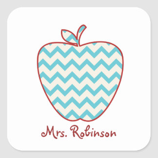 Aqua Chevron Apple Teacher Square Sticker