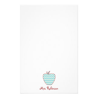 Aqua Chevron Apple Teacher Stationery