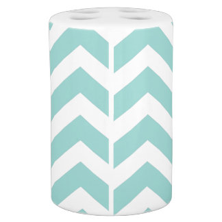 Aqua Chevron Bath Set