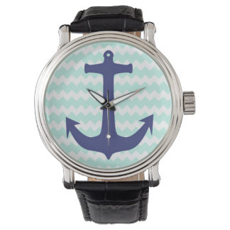 Aqua Chevron Blue Anchor Watch