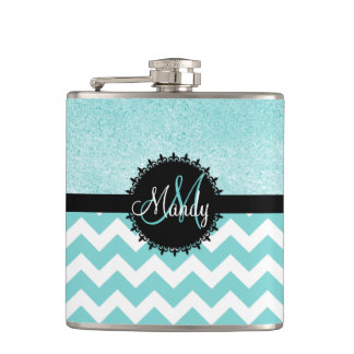 Aqua Chevron Glitter Monogram Flask