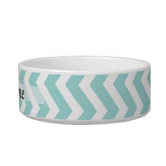 Aqua  chevron pattern cat bowl