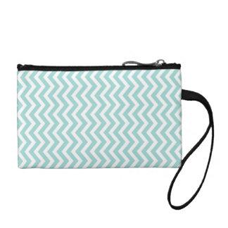 Aqua chevron pattern coin purse
