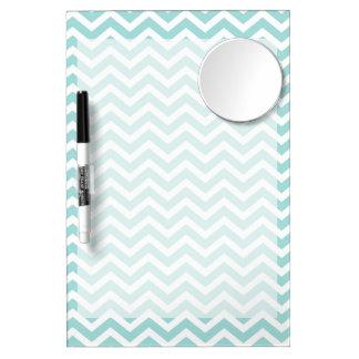 Aqua  chevron pattern dry erase board with mirror