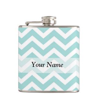 Aqua chevron pattern hip flask