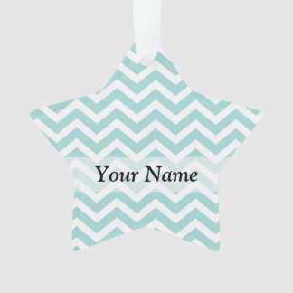 Aqua  chevron pattern ornament