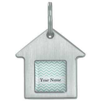 Aqua  chevron pattern pet name tag