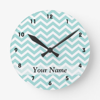 Aqua  chevron pattern wall clocks