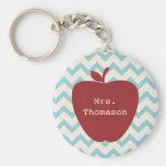 Aqua Chevron Red Apple Teacher Basic Round Button Key Ring