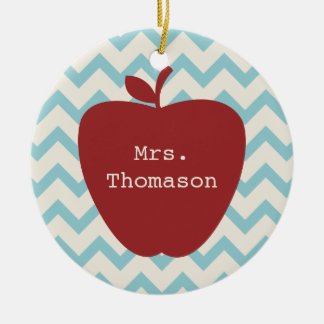 Aqua Chevron Red Apple Teacher Christmas Ornament