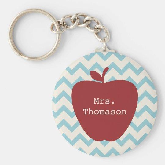 Aqua Chevron Red Apple Teacher Key Ring