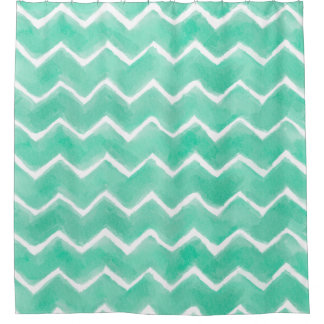 Aqua Chevron Shower Curtain