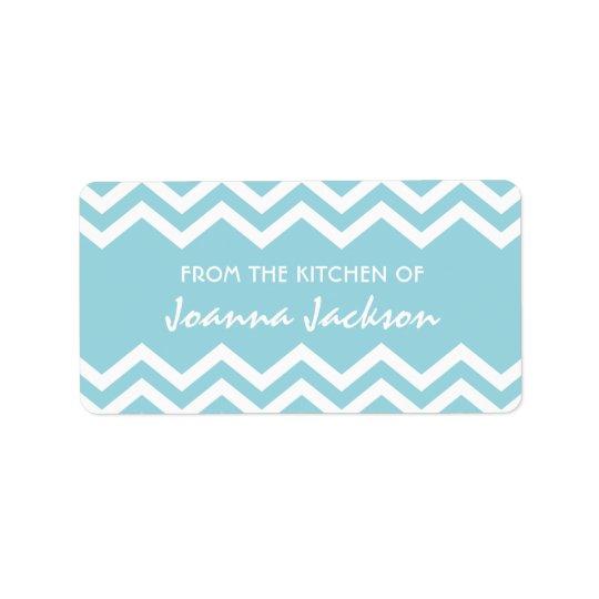 Aqua chevron (zig zag) pattern kitchen labels