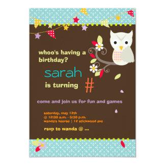 Aqua/Chocolate Owl Personalized Birthday Party Card