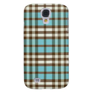 Aqua/Chocolate Plaid Pern Galaxy S4 Case