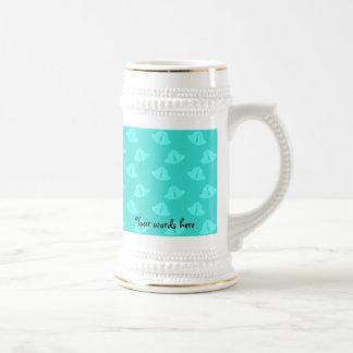Aqua christmas bells pattern beer steins