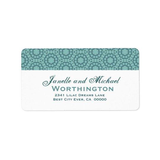 Aqua Circle Flowers Wedding Template Address Label