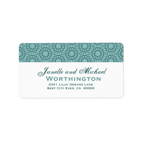 Aqua Circle Flowers Wedding Template Label