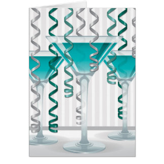 Aqua cocktail and ribbon card