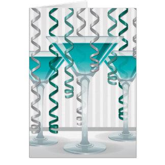 Aqua cocktail and ribbon greeting card