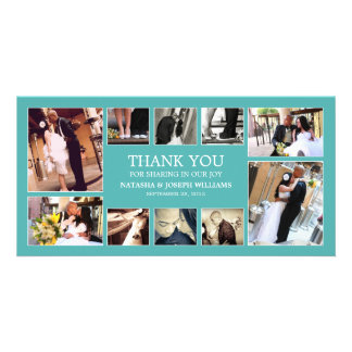 AQUA COLLAGE | WEDDING THANK YOU CARD PERSONALIZED PHOTO CARD