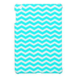 Aqua-Color-And-White Chevron Cover For The iPad Mini