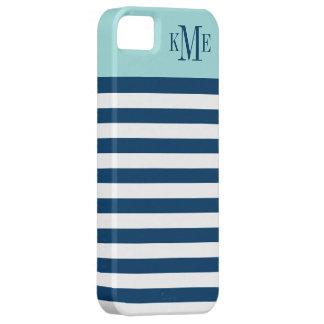 Aqua Color Block Monogram | Navy Stripes iPhone 5 Case