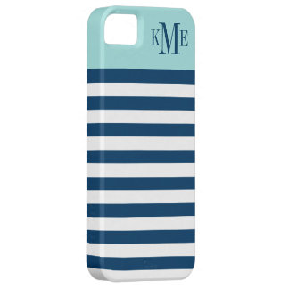 Aqua Color Block Monogram | Navy Stripes iPhone 5 Case