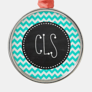 Aqua Color Chevron; Vintage Chalkboard look Christmas Ornament