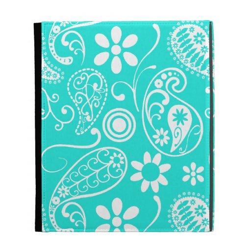 Aqua Color Paisley; Floral iPad Case