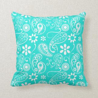 Aqua Color Paisley; Floral Cushion