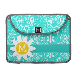 Aqua Color Paisley; Floral; Daisy Sleeve For MacBook Pro