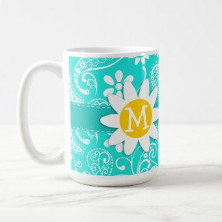 Aqua Color Paisley; Floral; Daisy Coffee Mug