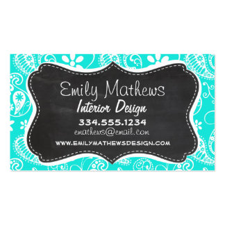 Aqua Color Paisley; Floral; Retro Chalkboard Business Card Templates