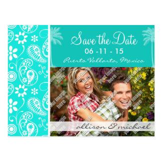 Aqua Color Paisley Floral Summer Palm Post Cards