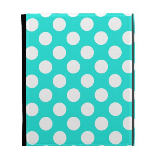 Aqua Color Polka Dots iPad Folio Cases