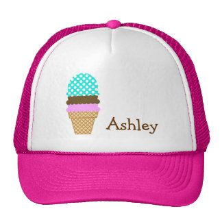 Aqua Color Polka Dots; Ice Cream Cone Cap