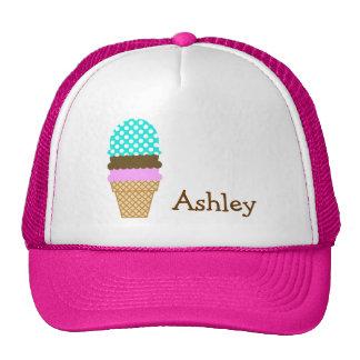 Aqua Color Polka Dots; Ice Cream Cone Trucker Hat