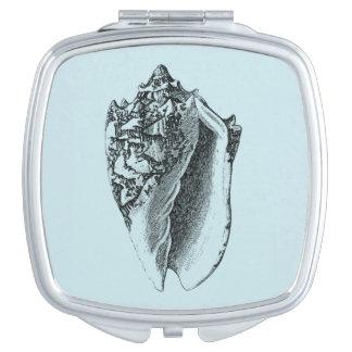 Aqua Conch Shell Compact Mirror