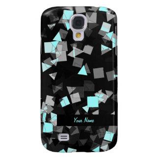 Aqua Confetti Custom Name Galaxy S4 Cases