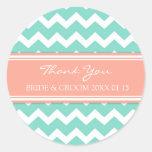 Aqua Coral Chevron Thank You Wedding Favour Tags Round Sticker