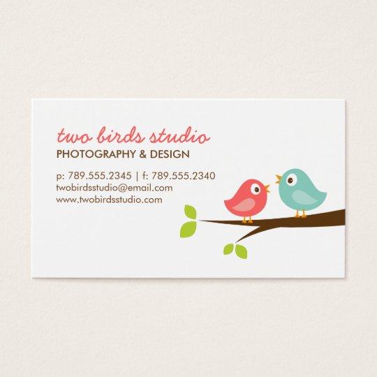 Aqua & Coral Cute Birds on a Branch Business Card