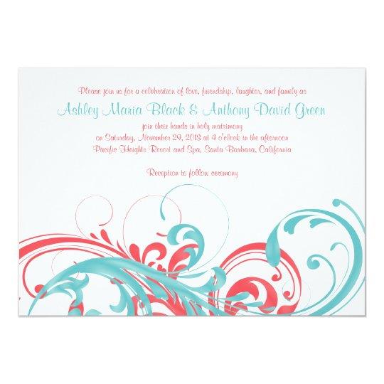 Aqua Coral Floral Destination Wedding Invitation