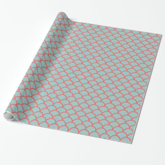 Aqua & Coral Holiday Gift Wrapping Paper
