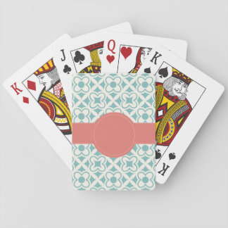 Aqua Coral Personalized Playing Cards