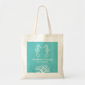 Aqua Coral Reef Seahorse Wedding Tote Bag
