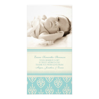 Aqua Cream Thank You Baby Shower Photo Cards