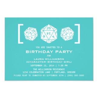 Aqua D20 Dice Gamer Birthday Party Invite