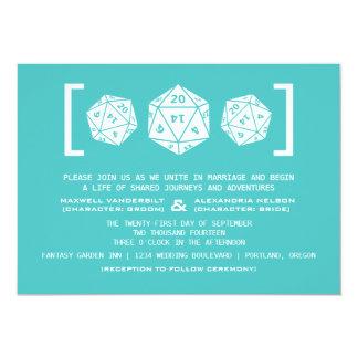 Aqua D20 Dice Gamer Wedding Invitation